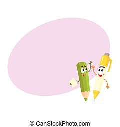 Cute, funny smiling pen and pencil characters cheering,...