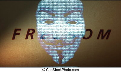 Anonymous mask on freedom  background