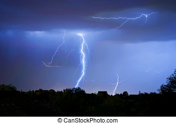 Thunder, lightning and storm in dark night sky - Number of...
