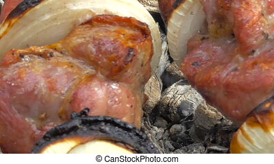 Kebab, meat on the coals - Cooking meat on coals outdoors