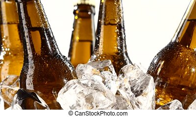 Bottles with beer, they spin in the ice. White background. Silhouette. Close up