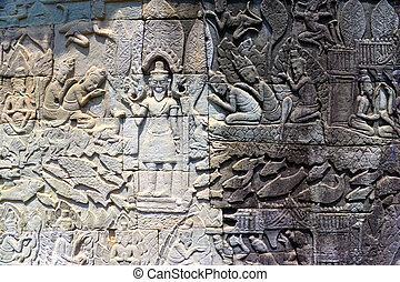 Bas-Relief at Bayon Temple, Cambodia - Image of ancient...