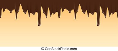 Vector seamless border of melted chocolate