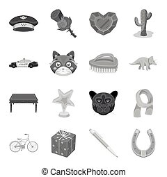 Sport, education, library and other web icon in monochrome...