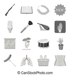 Health, beauty, food and other web icon in monochrome...