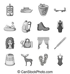 Transportation, recreation, animal and other web icon in monochrome style.Medicine, beauty, fashion icons in set collection.