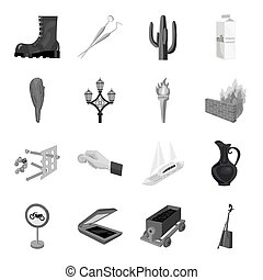 Mongolia, Transport, army, parking and other web icon in monochrome style. Mine, dentistry, art icons in set collection.