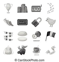Fan, education, food and other web icon in monochrome style.Detective, Animals, Country icons in set collection.