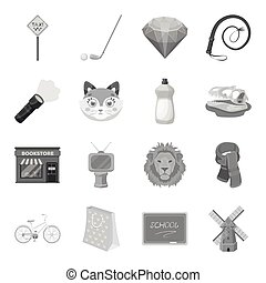 Sport, education, animal and other web icon in monochrome style.History, mineral, cinema icons in set collection.