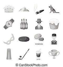 Service, sport, fitness and other web icon in monochrome style.Food, country, animal icons in set collection.