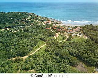 Luxury rsort in Nicaragua coast aerial drone view. Houses in...