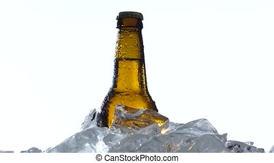 Dark bottle of beer are in a container with ice pieces....