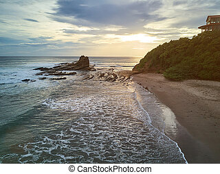Famous place magnific rock for surfers in Nicaragua in...