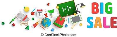 School items. Vector flat design concepts of sale. Education school icons set