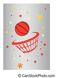 red basket ball with metal background and stars