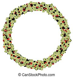 Round Christmas wreath with holly. EPS 10 vector