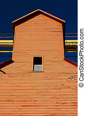 Orange Grain Elevator - Old orange grain elevator on the...