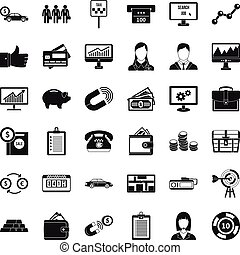 Business game icons set, simple style