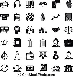 Business and finance icons set, simple style - Business and...