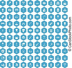 100 fire icons set blue - 100 fire icons set in blue hexagon...