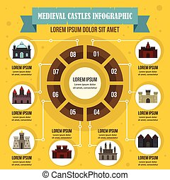Medieval castles infographic concept, flat style - Medieval...