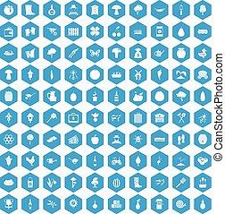 100 farming icons set blue - 100 farming icons set in blue...