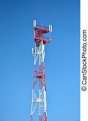 Mobile phone telecom cellular radio antenna tower. Cell...