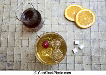 Classic Old Fashion cocktail on tile - Classic Old Fashion...