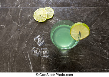 Vintage Gin Gimlet - Flat lay of vintage gin gimlet cocktail...