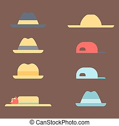 Summer panama hats straw fashion head sun protection traditional headgear accessory vector illustration.