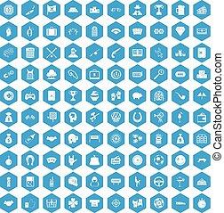 100 gambling icons set blue - 100 gambling icons set in blue...