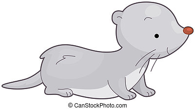 Weasel - Illustration of a Furry Weasel Smiling While...