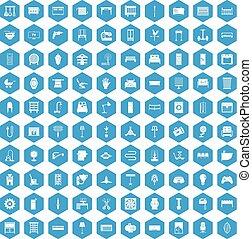 100 furnishing icons set blue