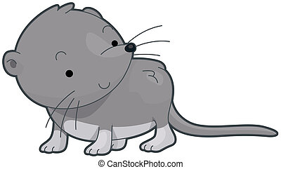 Shrew - Illustration of a Cute Shrew Looking at Something