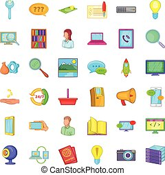 Support service icons set, cartoon style - Support service...