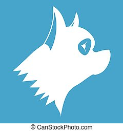 Pinscher dog icon white isolated on blue background vector...