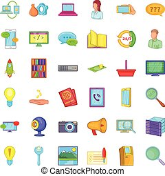 Computer service icons set, cartoon style - Computer service...
