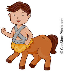 Centaur - Illustration of a Cute Centaur Walking Around