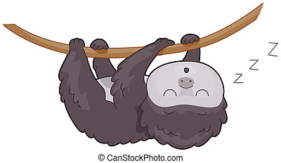 Sloth - Illustration of a Cute Sloth Sleeping Soundly