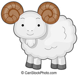 Ram - Illustration of a Wooly Ram Smiling Happily