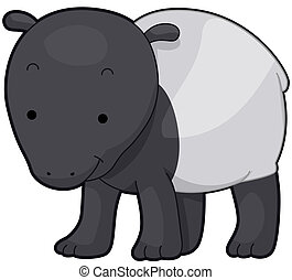 Tapir - Illustration of a Cute Tapir Smiling Contentedly