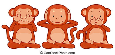 See No Evil, Hear No Evil, Speak No Evil - Illustration ofa...