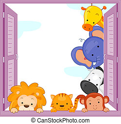 Peeping Animals - Illustration of Zoo Animals Peeping at the...