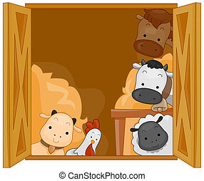 Barn Animals - Illustration of Cute Animals in a Barn