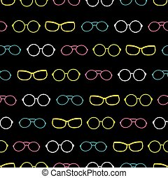 Vector colorful on black glasses accessories stripes...