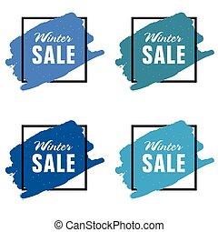 winter sale icon in blue color set illustration