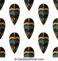 African mask seamless pattern vector illustration...