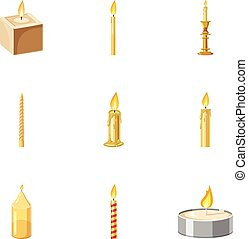 Paraffin candles icons set, cartoon style - Paraffin candles...