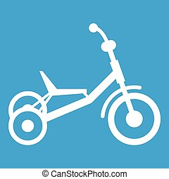 Tricycle icon white isolated on blue background vector...