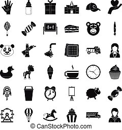 Child center icons set, simple style
